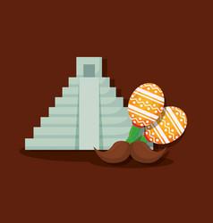 mexican pyramid design vector image