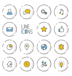 modern circle thin line icon collection vector image