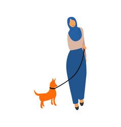 muslim woman walk side view vector image