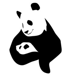 panda with a little baby vector image