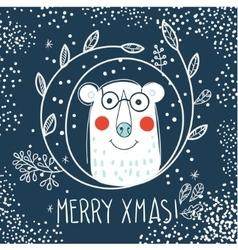 Polar Bear hipster inside a wreath of hand drawn vector