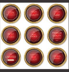 Premium quality gold and red badge collection vector
