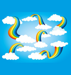 rainbow icon set with clouds vector image