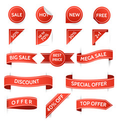 Retro promo and offer stickers vector