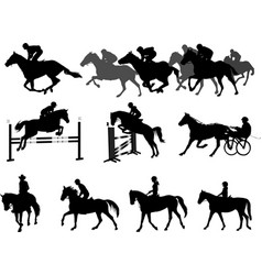 Riding horses silhouettes set equestrian sport vector