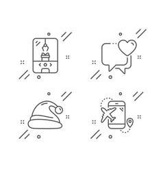 Santa hat heart and crane claw machine icons set vector