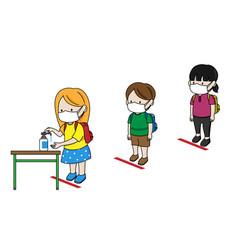 school children in line to wash their hands vector image