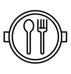 school lunch plate icon outline style vector image
