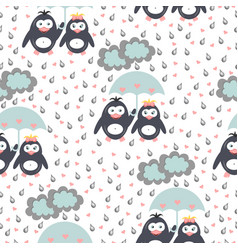 seamless pattern penguins under an umbrella snow vector image