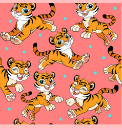 Seamless pattern with cartoon happy and cute vector