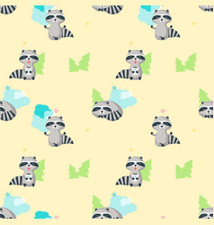 seamless pattern with cute funny raccoons vector image