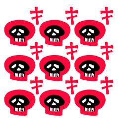 Seamless skulls textile doodle pattern grunge vector