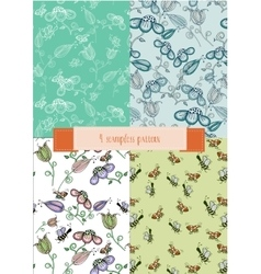 set of decorative backgrounds with flowers and vector image