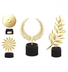 set of golden awards vector image