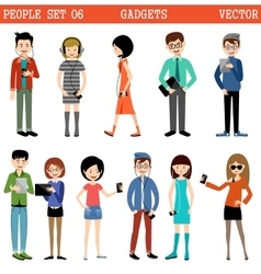 Set of people with gadgets vector