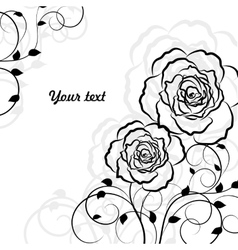 Simple floral background in black isolated on vector