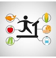 Sport man walking machine nutrition health vector