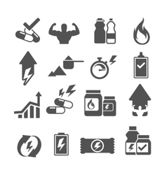 Sport supplements effects icons vector
