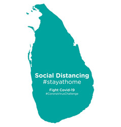 Sri lanka map with social distancing stayathome vector