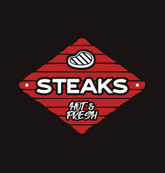 steak house logo template bbq grill bar emlem vector image