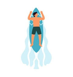 Surfer boy ride a surfboard surfing on wave vector