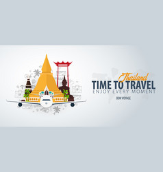Thailand time to travel banner with airplane and vector