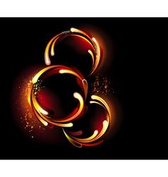 Three round fiery banner vector image