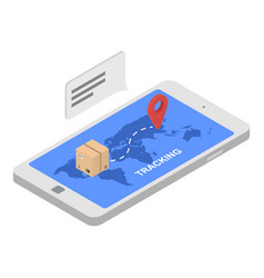 Tracking shipped box icon isometric style vector