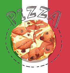 Tray of italian pizza vector