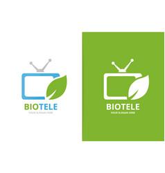 Tv and leaf logo combination unique media vector