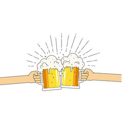two mugs beer in hands with a lot of foam vector image