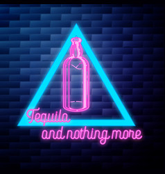 Vintage tequila emblem glowing neon sign vector