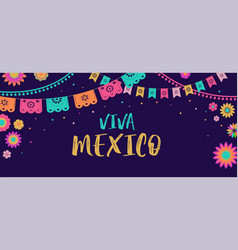 viva mexico - mexican fiesta banner and poster vector image