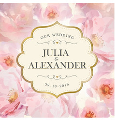 Watercolor flowers wedding invitation vector