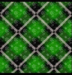 white snowflakes seamless with green tartan vector image