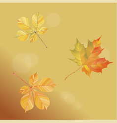 With falling autumn leaves on a gold background vector