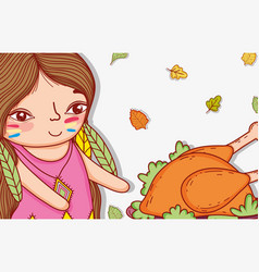 Woman indigenous with turkey food and leaves vector