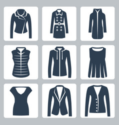 womens clothes icons set jacket overcoat vector image