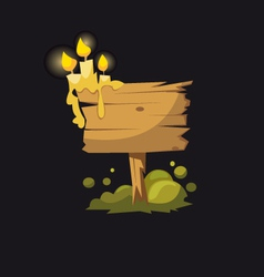 Wooden signboard with candles vector image