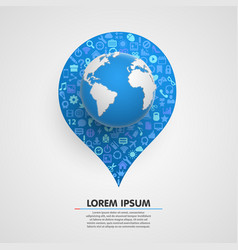 world globe with app icons sircle vector image vector image