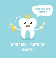 World oral care day with smiling tooth character vector