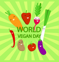world vegan day concept background flat style vector image