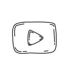 Youtube icon doodle hand drawn or black outline vector