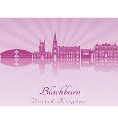 Blackburn skyline in purple radiant orchid vector image vector image
