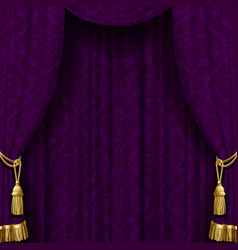 dark violet curtain with gold tassels vector image vector image