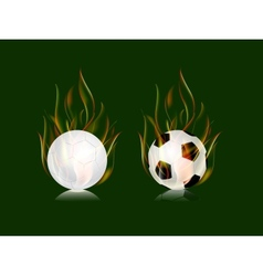 soccer balls in fire flame vector image vector image