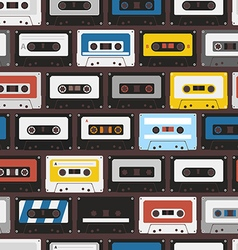 Vintage audio cassettes seamless background vector image vector image
