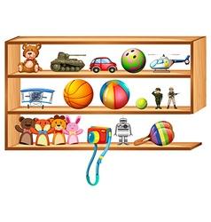 Wooden shelf full of toys vector image vector image