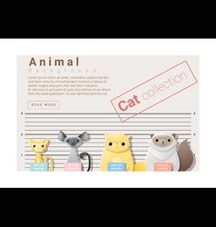 Cute animal family background with cats 3 vector