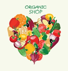 organic food Heart shape by organic fresh healthy vector image